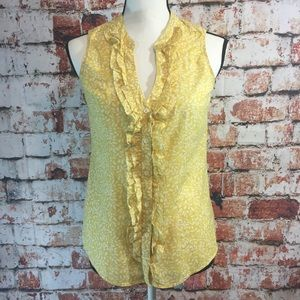 {Boden} yellow leaf ruffle button down tank